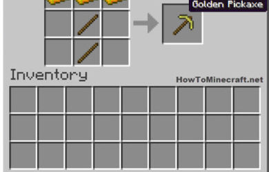 How to make a Gold Pickaxe in Minecraft